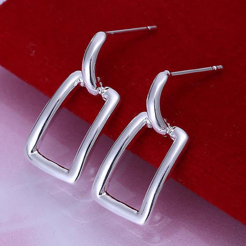 Sterling Silver Hollow Rectangle Earring - rubiquejewelry.com