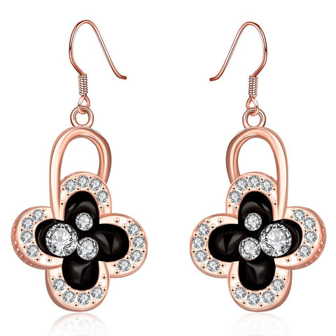 18K Rose Gold Drop Down Floral Earrings Made with Swarovksi Elements - rubiquejewelry.com