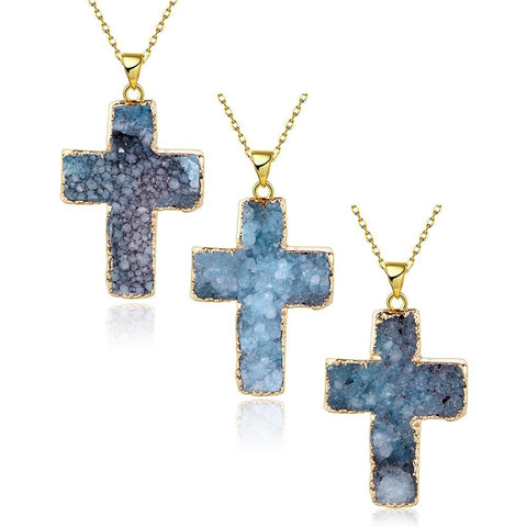 Aquamarine Cross Natural Crystal Necklace - rubiquejewelry.com