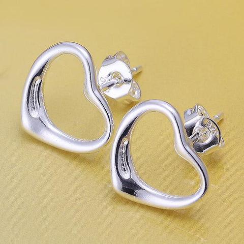 Sterling Silver Hollow Heart Stud Earring - rubiquejewelry.com