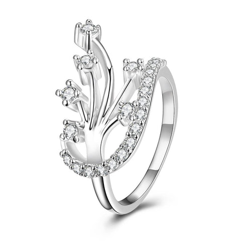 Modern Floral Orchid Spiral Ring - rubiquejewelry.com