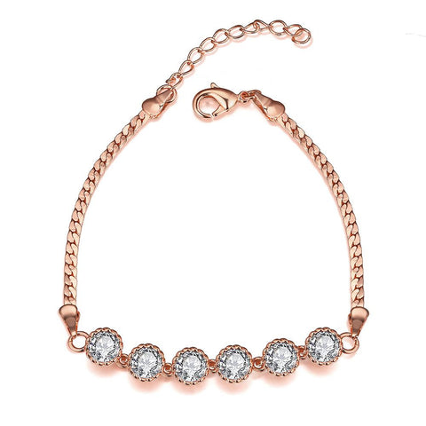 Rose Gold Plated Fine Line of Diamond Crystals Bracelet - rubiquejewelry.com