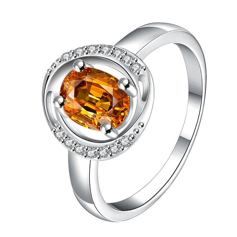 Yellow Citrine Circular Jewels Lining Ring - rubiquejewelry.com