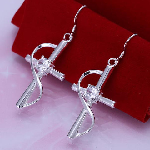Sterling Silver Abstract Curved Cross Earring - rubiquejewelry.com