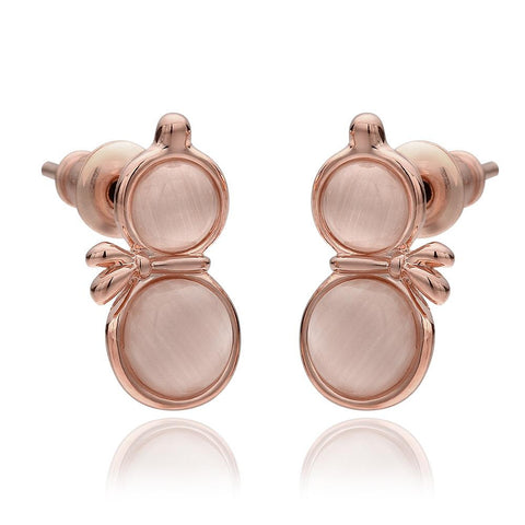 18K Rose Gold Double Chamber Stud Earrings Made with Swarovksi Elements - rubiquejewelry.com