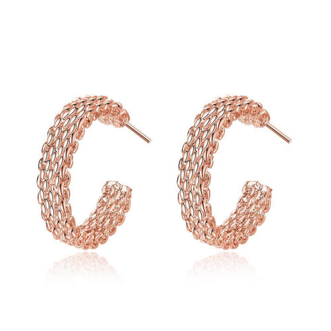 Rose Gold Plated Mesh Overlay Mini Hoop Earrings - rubiquejewelry.com