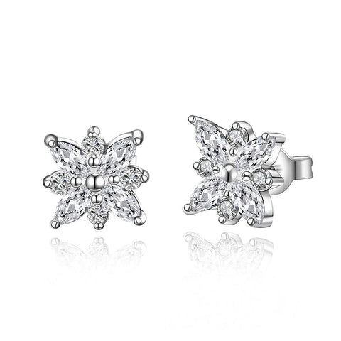 Sterling Silver Snowflake Stones Stud Earring - rubiquejewelry.com