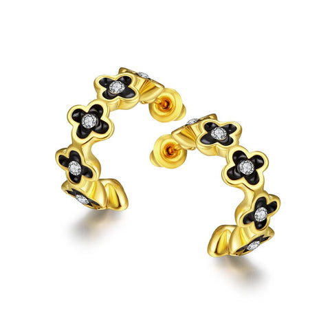 18K Gold 1/2 Hoop Earrings Made with Swarovksi Elements - rubiquejewelry.com
