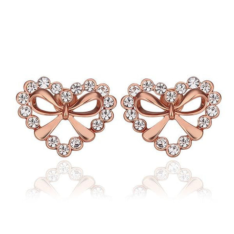 18K Rose Gold Hollow Hearts Covered with Crystals Studs Made with Swarovksi Elements - rubiquejewelry.com