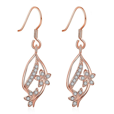 Rose Gold Pave' Covered Natural Inspired Drop Down Earrings - rubiquejewelry.com