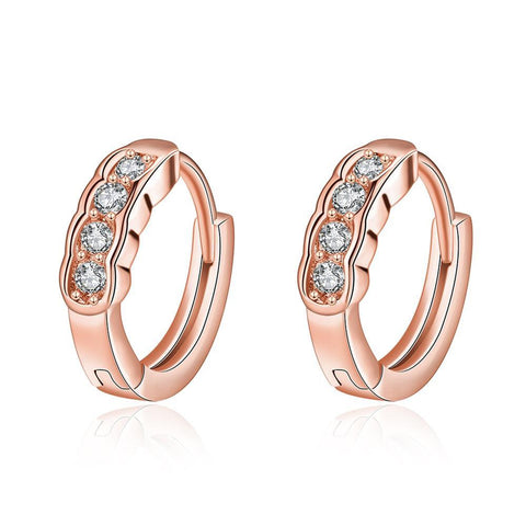 Rose Gold Plated Circular Jewels Mini Hoop Earrings - rubiquejewelry.com