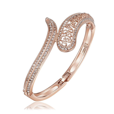 18K Rose Gold Connected Cobra Bangle with Swarovski Elements - rubiquejewelry.com