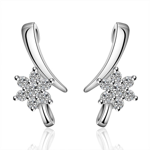 Sterling Silver Linear Crystal Earring - rubiquejewelry.com
