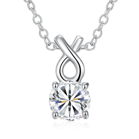 White Gold Plated Classic Tiffany's Diamond Necklace - rubiquejewelry.com