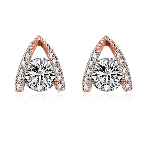 Rose Gold Plated Triangular Drop Studs - rubiquejewelry.com