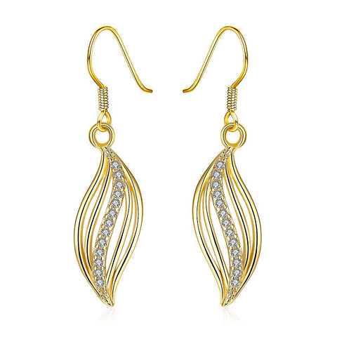 Gold Plated Comet Inspired Drop Down Earrings - rubiquejewelry.com