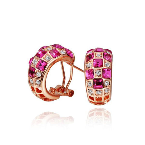 18K Rose Gold Ruby Crystals 1/2 Hoop Earrings Made with Swarovksi Elements - rubiquejewelry.com