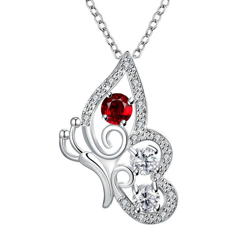 Petite Ruby Red Spiral Butterfly Design Drop Necklace - rubiquejewelry.com