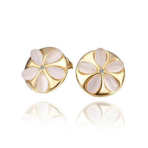 18K Gold Ivory Floral Stud Earrings Made with Swarovksi Elements - rubiquejewelry.com