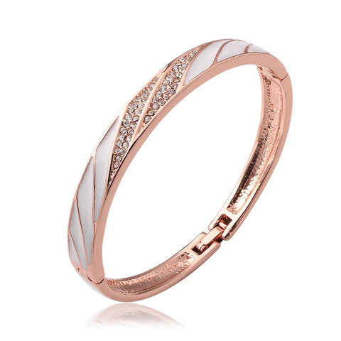 18K Rose Gold Bangle with Ivory Swirls with Swarovski Elements - rubiquejewelry.com