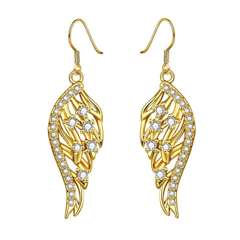 Gold Plated Drop Down Phoneix Emblem Earrings - rubiquejewelry.com