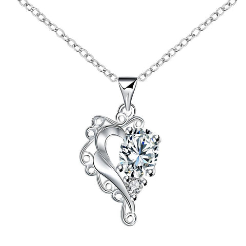 Blossoming Crystal Stone Heart Shaped Drop Necklace - rubiquejewelry.com