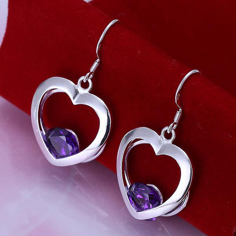 Sterling Silver Hollow Hearts with Sapphire Gem Earring - rubiquejewelry.com
