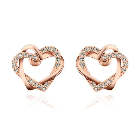 18K Rose Gold Crystal Covered Hollow Hearts Stud Earrings Made with Swarovksi Elements - rubiquejewelry.com