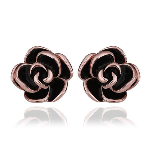 18K Rose Gold Floral Petals with Onyx Inlay Made with Swarovksi Elements - rubiquejewelry.com