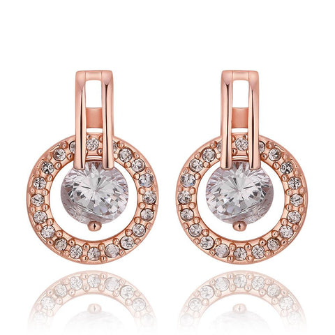 18K Rose Gold Circular Earrings with Crystal Jewel Made with Swarovksi Elements - rubiquejewelry.com