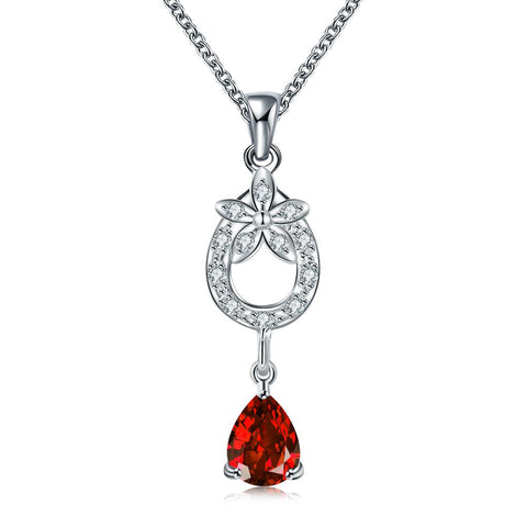 Ruby Red Petite Dangling Gem Necklace - rubiquejewelry.com