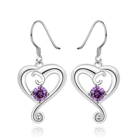 Sterling Silver Purple Citrine Curved Heart Drop Earring - rubiquejewelry.com