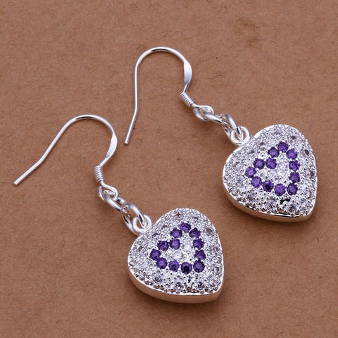 Sterling Silver Heart Shaped Drop Earring with Sapphire Insert - rubiquejewelry.com