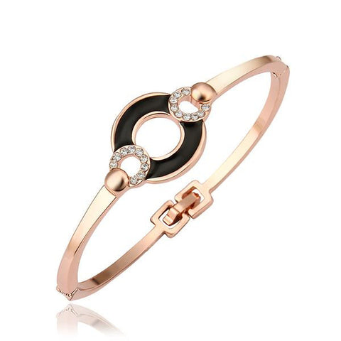 18K Gold Bangle with Onyx Connector with Swarovski Elements - rubiquejewelry.com