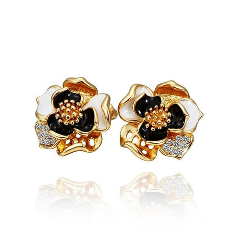 18K Gold Onyx Covered Petals Stud Earrings Made with Swarovksi Elements - rubiquejewelry.com
