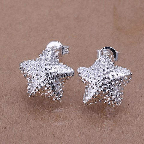 Sterling Silver Beaded Starfish Stud Earring - rubiquejewelry.com