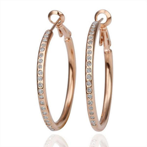 18K Rose Gold Large Hoop Earrings Made with Swarovksi Elements - rubiquejewelry.com