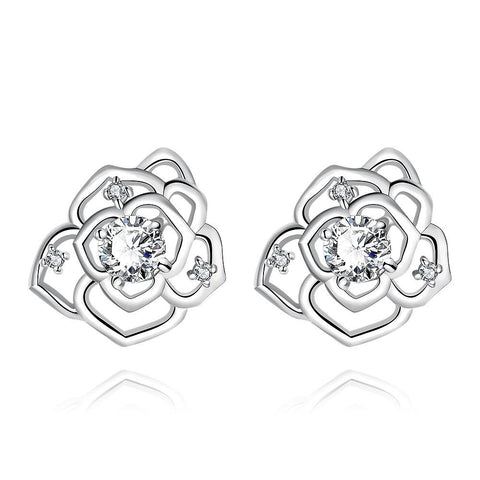 White Gold Plated Laser Cut Floral Petals Stud Earrings - rubiquejewelry.com