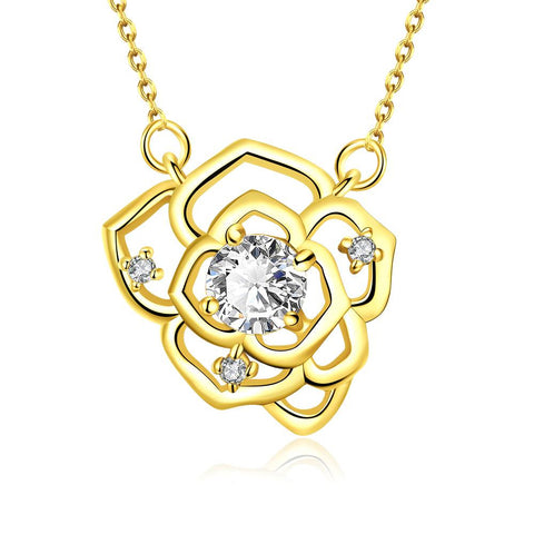 Gold Plated Floral Emblem Covered with Crystal Necklace - rubiquejewelry.com