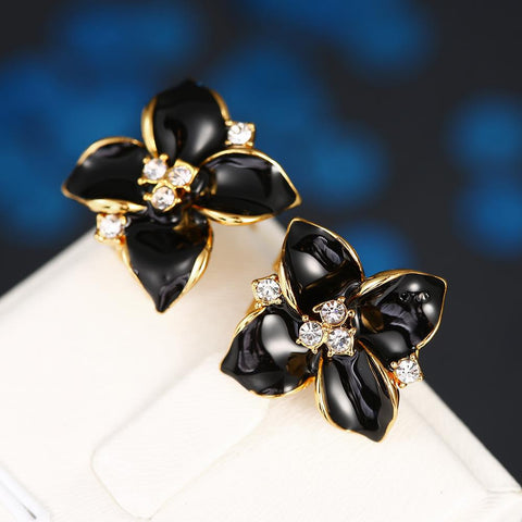 18K Gold Classic Onyx Rose Petal Earrings Made with Swarovksi Elements - rubiquejewelry.com