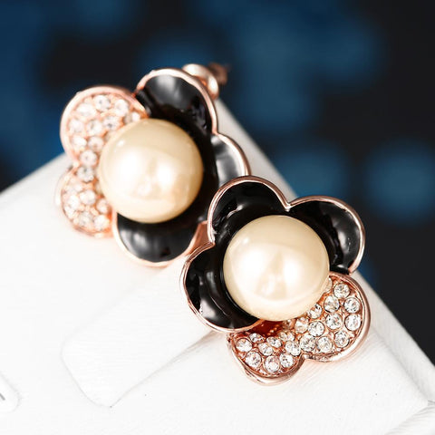 18K Rose Gold Floral Petal Stud Earrings with Onyx Covering Made with Swarovksi Elements - rubiquejewelry.com