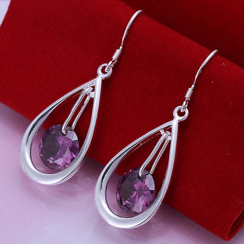Sterling Silver Purple Citrine Circular Drop Earring - rubiquejewelry.com