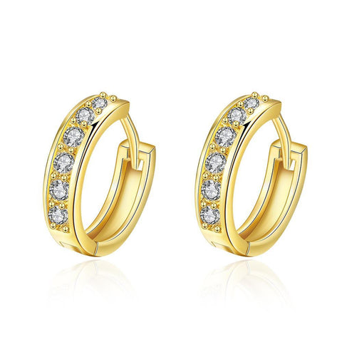 Gold Plated Classic Diamond Jewels Mini Hoop Earrings - rubiquejewelry.com