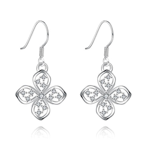 White Gold Plated Hollow Clover Drop Down Earrings - rubiquejewelry.com
