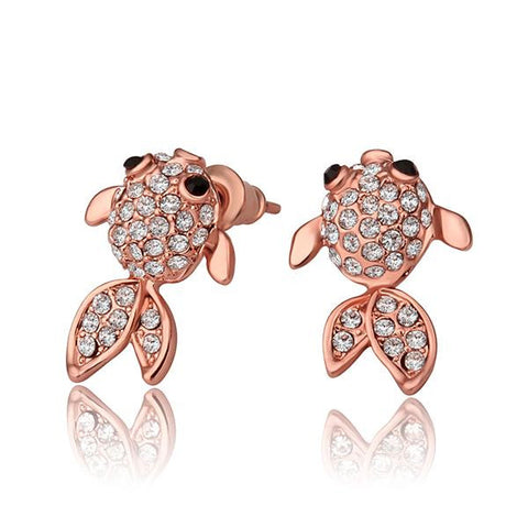 18K Rose Gold Baby Fish Studs Made with Swarovksi Elements - rubiquejewelry.com