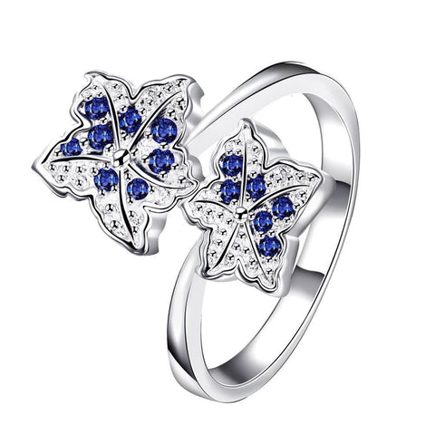 Duo-Mock Sapphire Floral Petals Classic Ring - rubiquejewelry.com