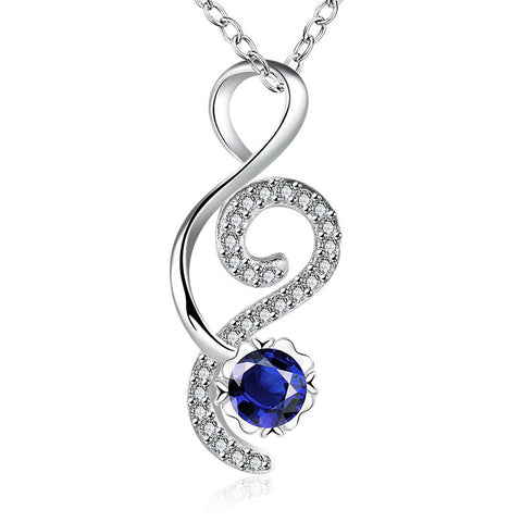 Open Ended Heart Mock Sapphire Drop Necklace - rubiquejewelry.com