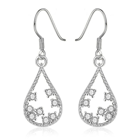 White Gold Plated Modern Filligree Drop Down Earrings - rubiquejewelry.com