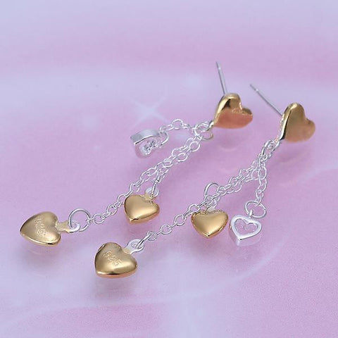 Sterling Silver Multi-Hearts Drop Earring - rubiquejewelry.com