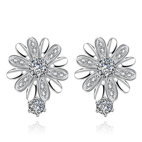 White Gold Plated Floral Petal Stud Earrings - rubiquejewelry.com